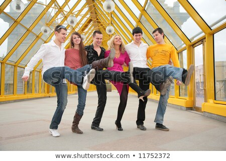 group of young people dance on footbridge Stock photo © Paha_L