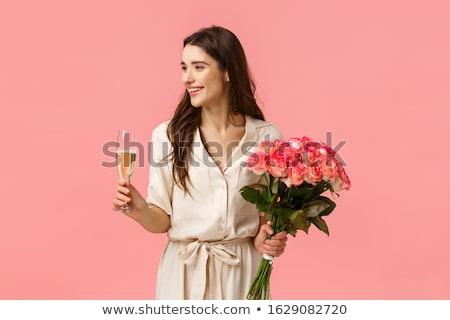 Mulher jovem rosa cara amor feliz cabelo Foto stock © Dahlia