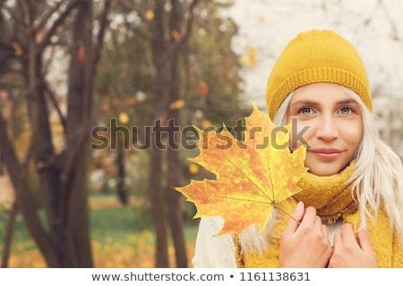 mulher · amarelo · folhas · retrato · belo - foto stock © marylooo