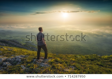 Homme permanent campagne paysage cheveux arbres Photo stock © photography33