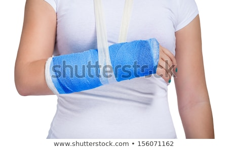 Main bleu plâtre brisé blanche peu profond Photo stock © KonArt