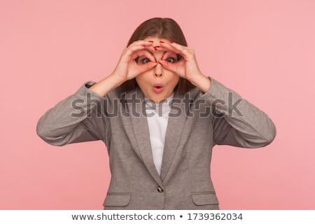 Stok fotoğraf: Işkadını · bakıyor · dürbün · beyaz · kadın · gözler