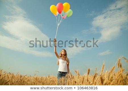aranyos · lány · búzamező · szórakozás · aktív · életstílus - stock fotó © andreykr