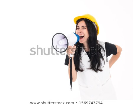Woman laborer screaming in a bullhorn Stock photo © photography33
