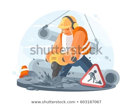 wegenbouw · werknemer · snelweg · bouw · oranje · vest - stockfoto © photography33