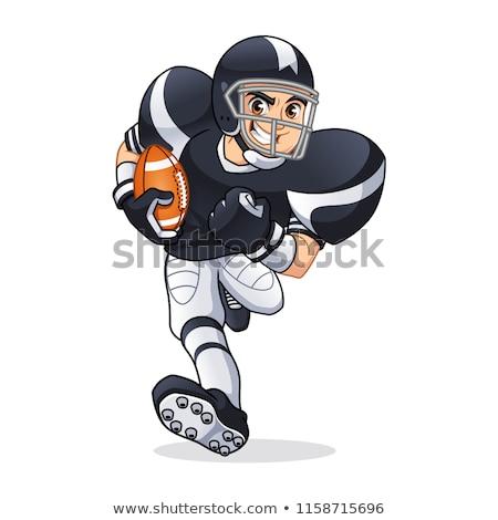 Football Player Mascot Wearing Helmet Vector Illustration Stock photo © chromaco