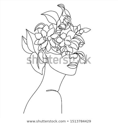 Foto stock: Mulher · flores · feliz · sessão · natureza