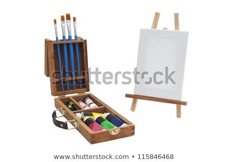 Zdjęcia stock: Płótnie · akryl · teczki · odizolowany · biały · farby