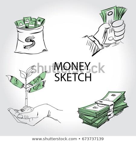 dinheiro · lousa · pessoa · giz · escritório - foto stock © kbuntu