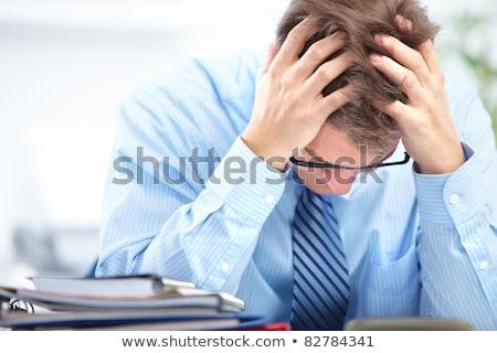 aggódó · üzletember · nyakkendő · közelkép · üzlet · arc - stock fotó © lunamarina