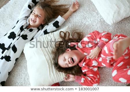 Dwa dzieci piętrze odizolowany refleksji pierwszy plan Zdjęcia stock © sdenness