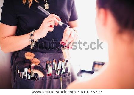 piękna · dziewczyna · szczotki · makijaż · wektora · dziewczyna · ciało - zdjęcia stock © kovacevic