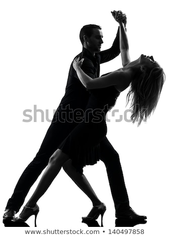 silhouette of dancing couple isolated on a white background stock photo © maxmitzu