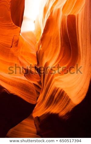 Sunlight Beams Through Crevasse Sandstone Rock Antelope Slot Canyon Stock photo © cboswell