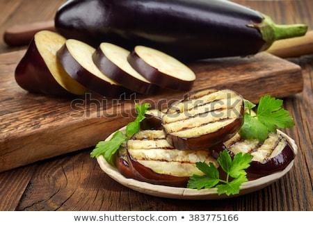 Aubergine aubergine peterselie blad witte natuur Stockfoto © natika