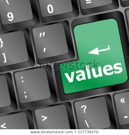 Values sign button on keyboard with soft focus Stock photo © fotoscool