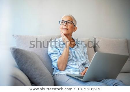 Nő mosolyog net laptop gyönyörű fiatal nő mosolyog Stock fotó © dash