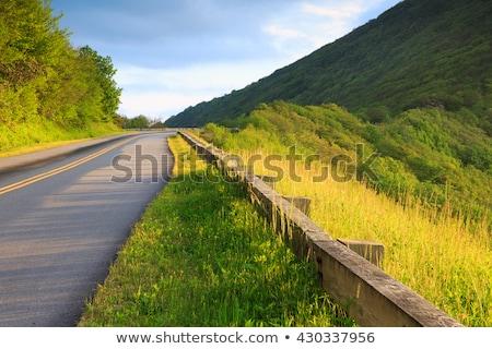 ストックフォト: 早朝 · 庭園 · 自然 · 青 · 旅行 · 山
