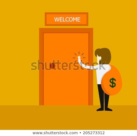 kéz · erősítés · ajtó · női · kép · vásárló - stock fotó © stevanovicigor