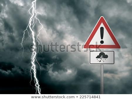 предупреждение · дорожный · знак · закат · небе · фон · знак - Сток-фото © tashatuvango