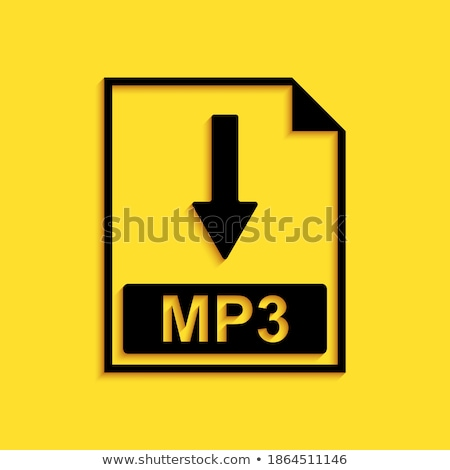 Mp3 letöltés citromsárga vektor ikon terv Stock fotó © rizwanali3d