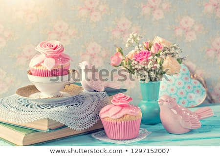 Colorful cakes and pink roses, still life  Stock photo © Julietphotography