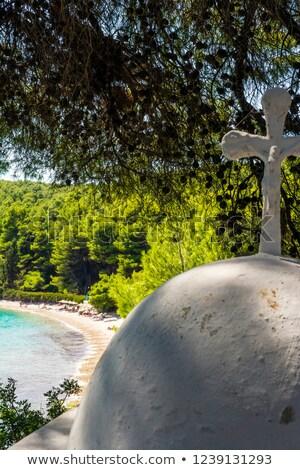 белый крест пляж Греция воды морем Сток-фото © ankarb