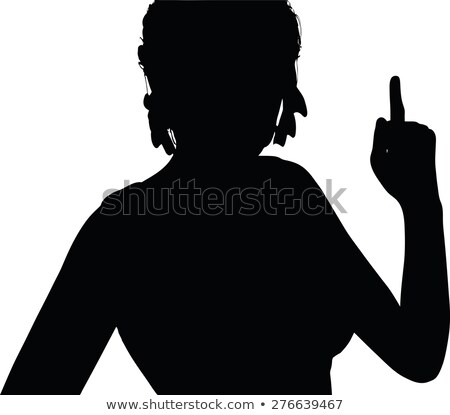 woman silhouette with hand gesture finger pointing upwards stock photo © Istanbul2009