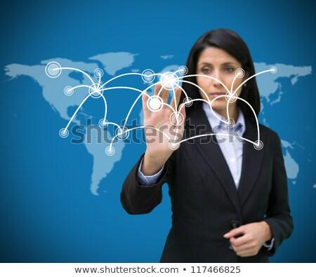 üzletasszony kisajtolás holografikus képernyő mosolyog ruha Stock fotó © cherezoff