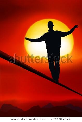 туго натянутый канат художник ходьбе тело танцы кабеля Сток-фото © Hasenonkel