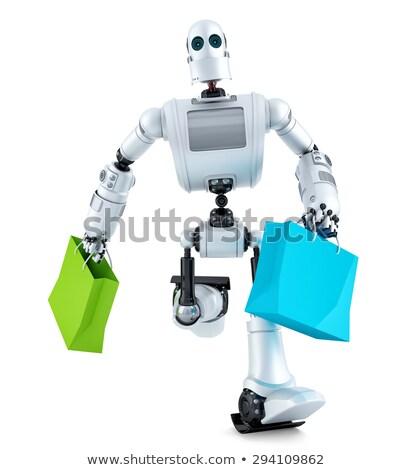 Android robot boodschappentas computer technologie Stockfoto © Kirill_M