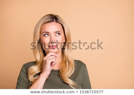 peinzend · stijlvol · mooie · vrouw · aanraken · gezicht - stockfoto © juniart