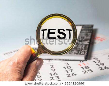 Stock photo: analysis and magnifier symbol in blue glass cubes