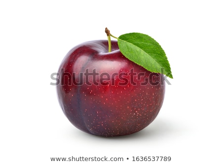 Plum with stem and green leaf Stock photo © Ava
