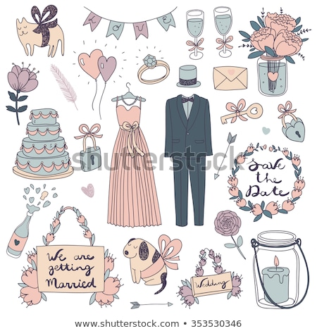 doodle wedding dress and suit Stock photo © netkov1
