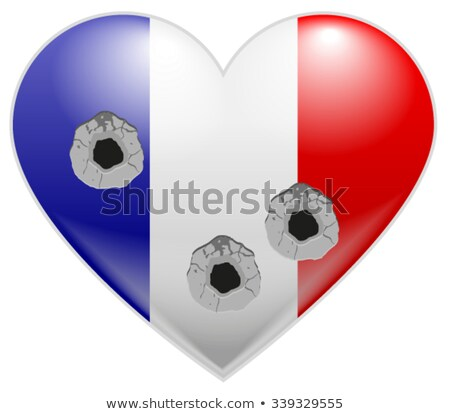 Bullet holes in heart of French flag Stock photo © orensila