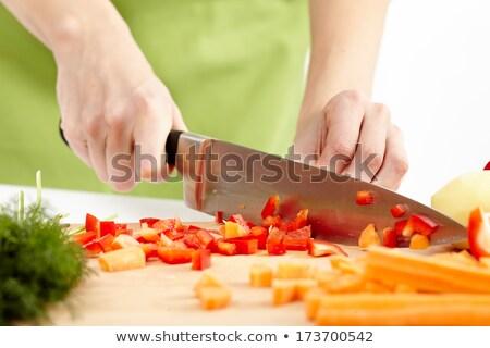 Picado salsa faca comida folha Foto stock © art9858