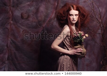 Stock photo: Cabaret girl in red corset