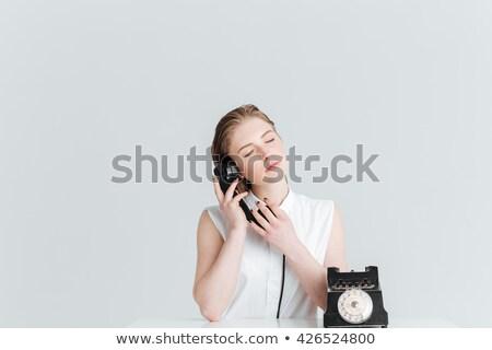 Vrouw retro telefoon Stockfoto © deandrobot