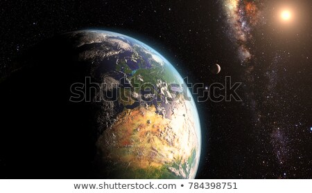 aarde · ruimte · zonsopgang · kaart · achtergrond · sterren - stockfoto © sebikus