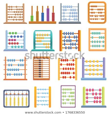 Düğmeler abaküs beyaz arka plan kırmızı hesap makinesi Stok fotoğraf © bluering