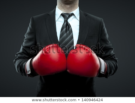 Homem de negócios luvas de boxe gritando óculos terno preto olhando Foto stock © deandrobot