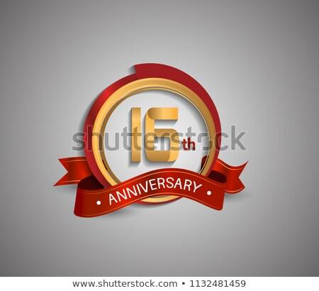 16th anniversary celebration badge label in golden color Stock photo © SArts
