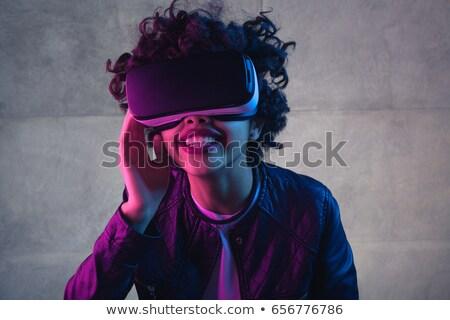 Feliz mulher virtual realidade dispositivo Foto stock © deandrobot