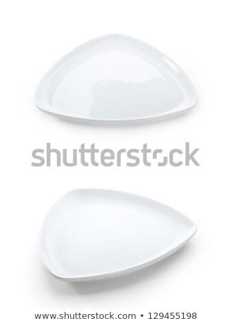 üçgen beyaz plaka küçük meze tatlı Stok fotoğraf © Digifoodstock