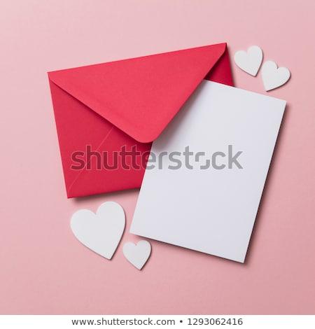 Boríték piros papír szív boldog valentin nap Stock fotó © Genestro
