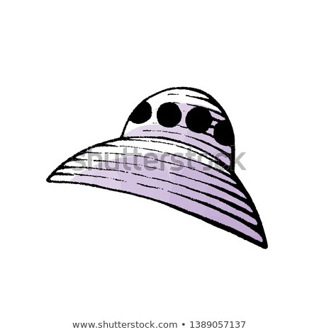 Ink and Watercolor Sketch of a Purple Alien Spaceship Stock photo © cidepix
