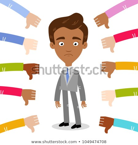 ビジネスマン · マネージャ · 作業 · 親指 · ダウン · 漫画 - ストックフォト © rastudio