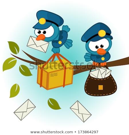 Vogel postbode mailbox illustratie papier brief Stockfoto © adrenalina