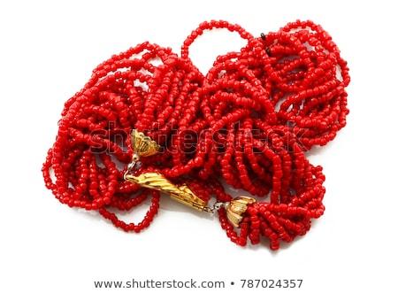 piros · korall · karkötő · izolált · fehér · háttér - stock fotó © gsermek